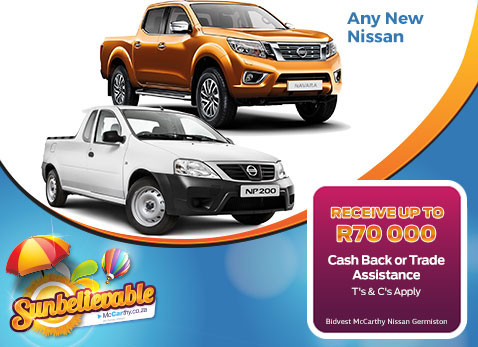 Nuy and NEW Nissan & get R70 000 Cash back or trade assistance