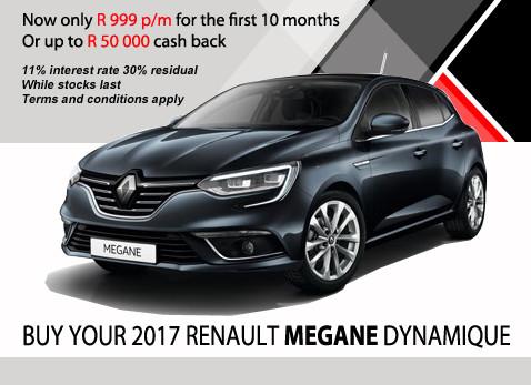 2017 RENAULT MEGANE DYNAMIQUE - Up to R50 000 Cash back