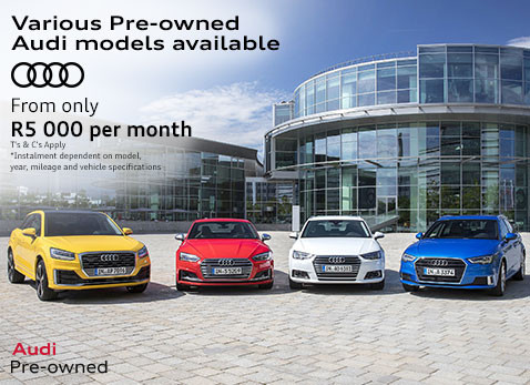 Various pre-owned audi models from R5000 per month installment