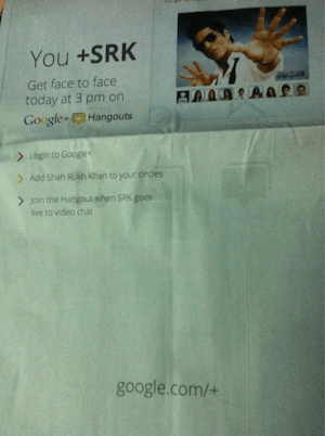 SRK Hangout Print Newspaper Ad