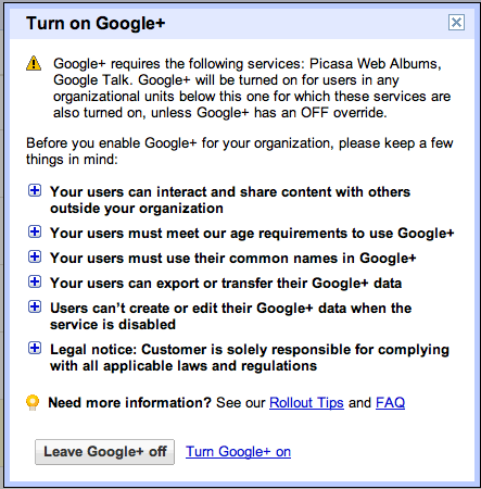 Turn on Google+ message for Google Apps Administrator