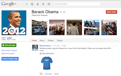 US President Barack Obama page on Google+
