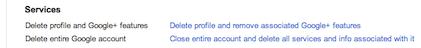 Delete profile and Google account
