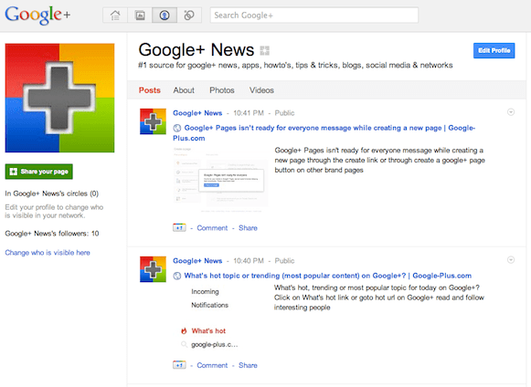 Google-Plus.com page on Google+