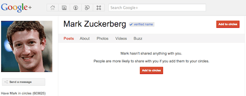 Mark Zuckerberg's Google+ profile