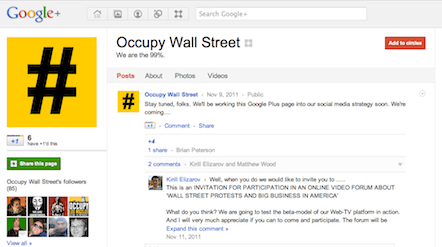 Occupy Wall Street Google+ page