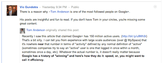 Vic Gundotra of Google+ shares Tom Anderson's post