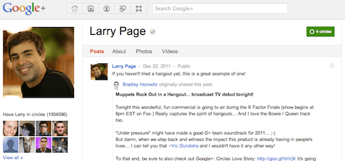 Larry page with million+ followers on Google+