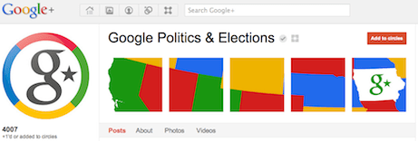 Google politics and elections Google+ page