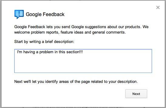 Google+ feedback dialog