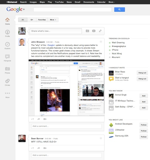 Google+ Gets a Major UI Overhaul, Clean and Crisp : Is Google+ Precursor for the Next Web Operating System?