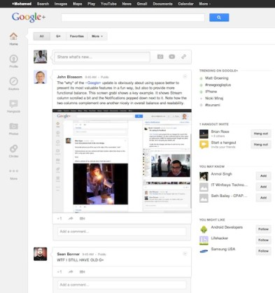 Google+ new design / look and feel
