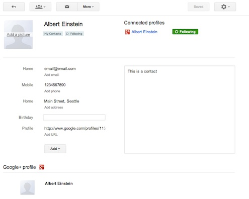 Your contacts data in Google contacts with G+ profile