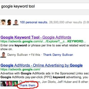 'Thank them' for +1'ing content right from google search results (SERP's)