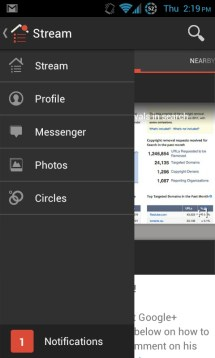 Newly designed navigation ribbon in google+ android app