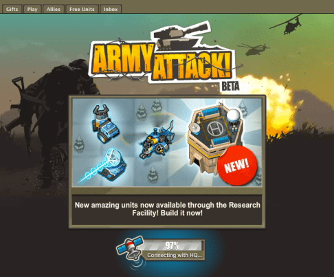 army attack game on social games