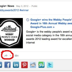 Share your Google+ post to other networks