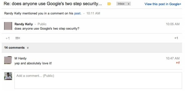 Google+ post with all comments now appears inside gmail