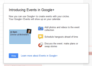 Scheduling hangouts one of the feature in google+ events