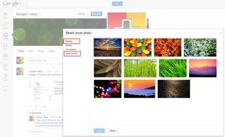 Cover photo album in google+ profile