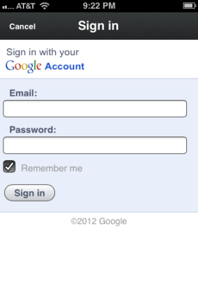3. App prompts for your google+ username and password