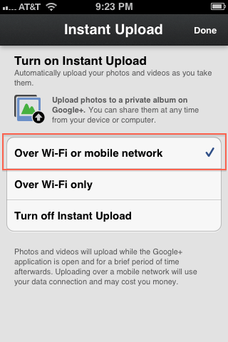 How to disable instant upload on google+ iphone app