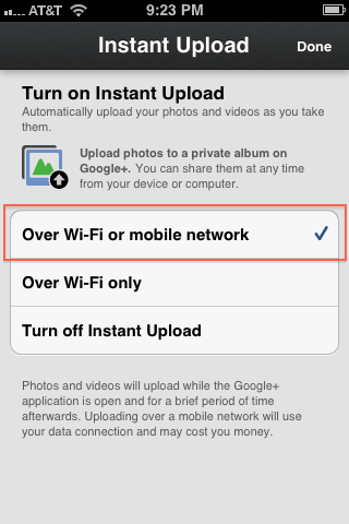 4. Instant upload enabled by default