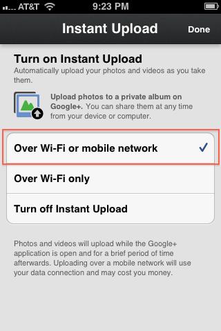 4. Instant upload enabled by default
