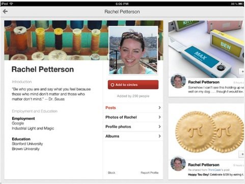 google+ ipad app with native user experience