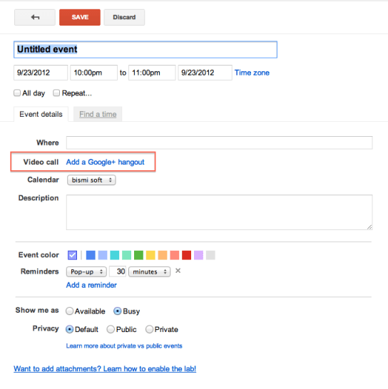 Create event with google+ hangout in calendar