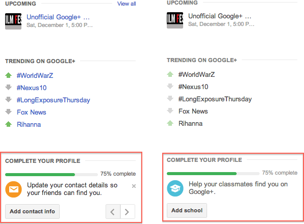 Google+ Prompts for Profile Completeness Similar to LinkedIn!