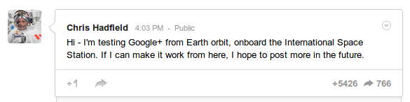 Google plus Chris Hadfield ISS