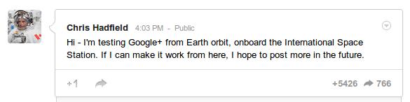 Google plus Chris Hadfield ISS