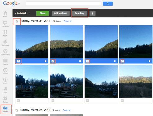 download instant upload photos or albums