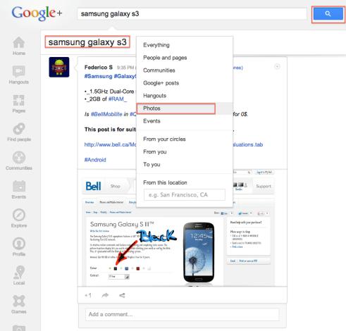 google+ search filter photos