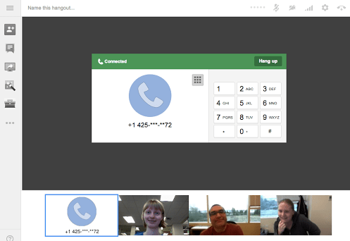 call up to 5 hangout participants via telephone