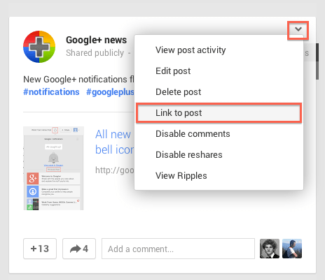 Three Quick Ways to Get Permalinks for Any Google+ Post