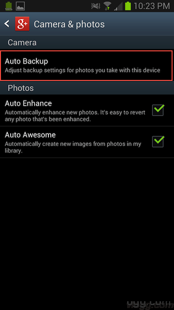 Touch Auto Backup option