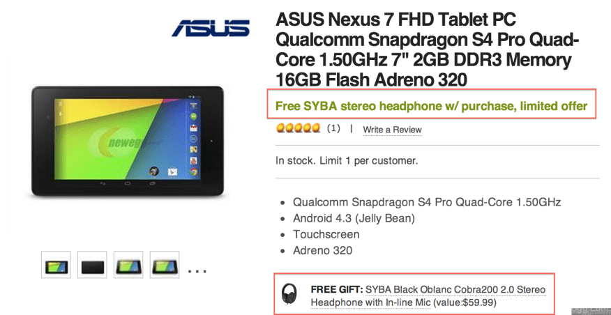 "Nexus 7"" FHD Tablet Deal with FREE Headset/Mic & FREE Shipping + No Tax in most US States"
