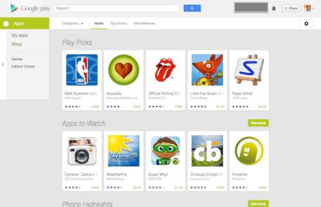 Android apps in play store