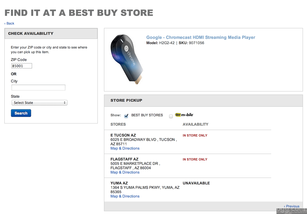 Want to Buy Chromecast? Some BestBuy Stores Show in STORE ONLY Availability!