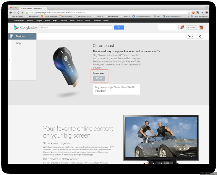 Google Chromecast device sold out in playstore