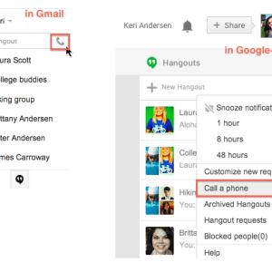 make free phone calls from google+ hangouts app