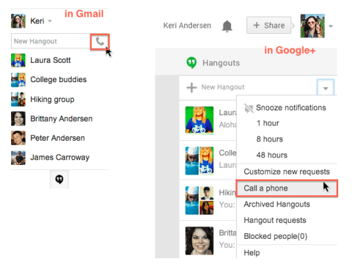 make free phone calls from google+ hangouts app