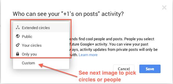 +1's activity update dialog