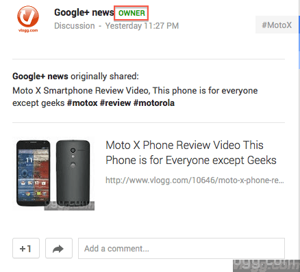 Google+ Communities Post Owner Label
