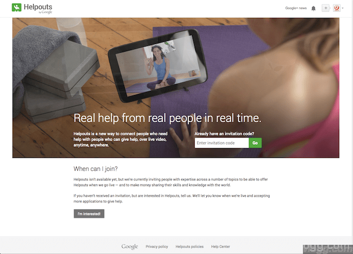 Google Helpouts Invitation Signup