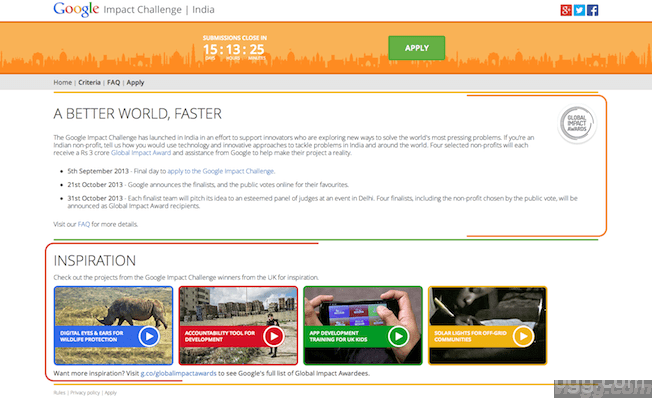 The Global Impact Challenge India 2013 for $500,000 award