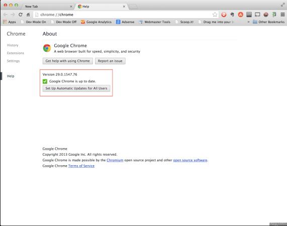 Google Chrome Version 29.0.1547.76
