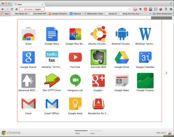 Chrome Apps Icon added to the tops, clicking on it shows previously installed apps